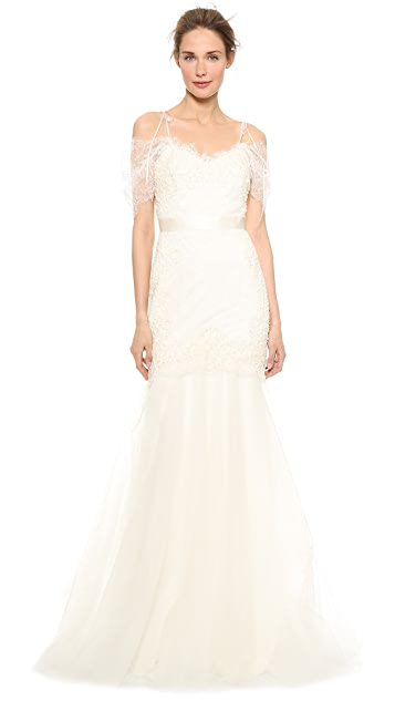 Marchesa Re-Embroidered Lace Mermaid Gown
