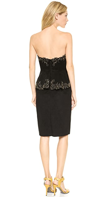Marchesa Faux Suede Cocktail Dress