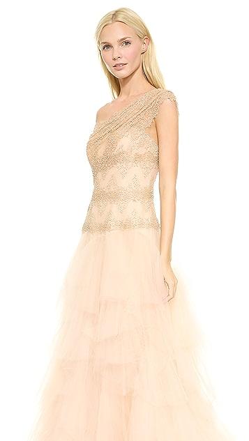 Marchesa One Shoulder Ball Gown