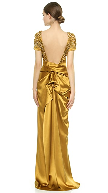 Marchesa Beaded Satin Gown with Open Back