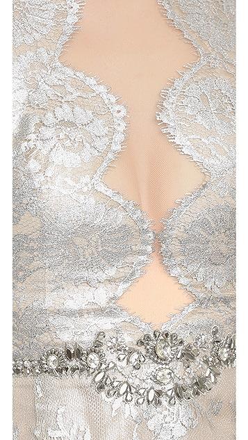 Marchesa Metallic Lace Dress