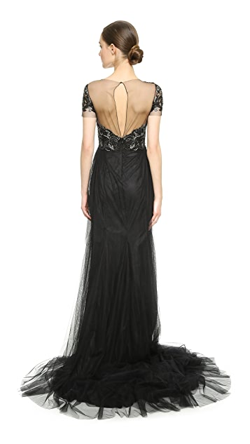 Marchesa Beaded Tulle Gown