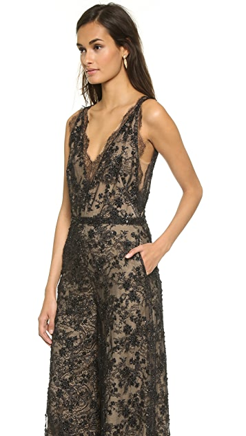 Marchesa Re-Embroidered Chantilly Lace Jumpsuit
