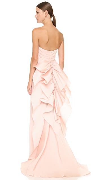 Marchesa Strapless Silk Faille Column Gown