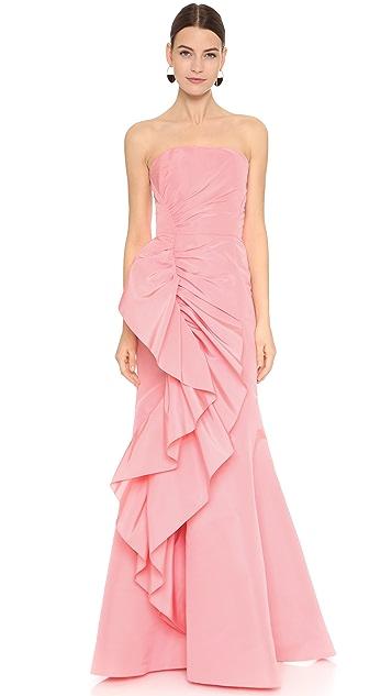 Marchesa Strapless Silk Faille Gown