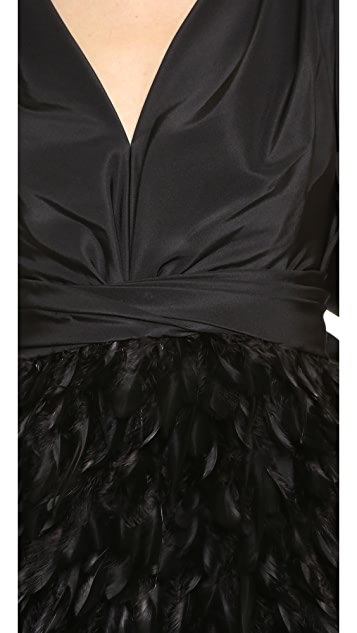 Marchesa V Neck Cocktail Dress