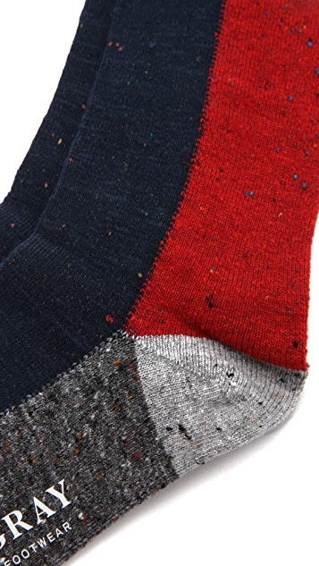 Mr. Gray Slub Nep Colorblock Socks