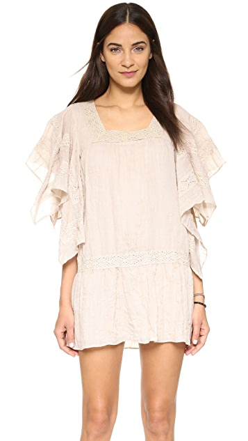 Moon River Lace Trim Mini Dress