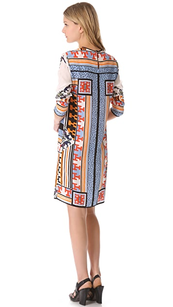 MSGM Patchwork Long Sleeve Dress