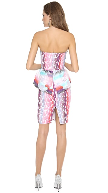 MSGM Peplum Strapless Dress