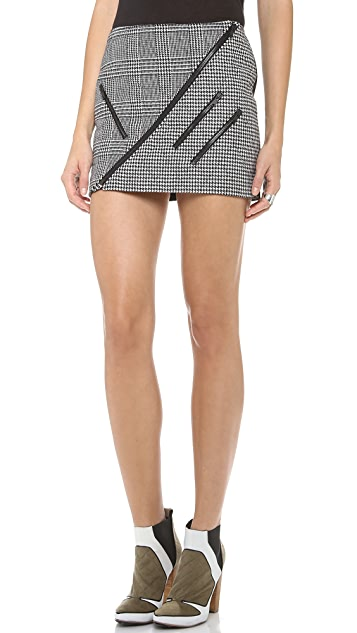 MSGM Houndstooth Quilted Miniskirt