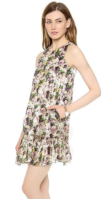 MSGM Dropwaist Rose Print Dress