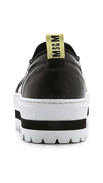 MSGM Striped Lace Slip On Sneakers