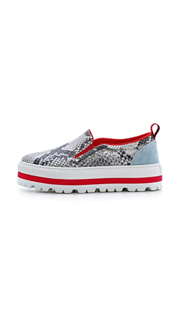 MSGM Snake Print Slip On Sneakers