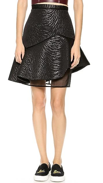 MSGM Zebra Neoprene Structured Skirt
