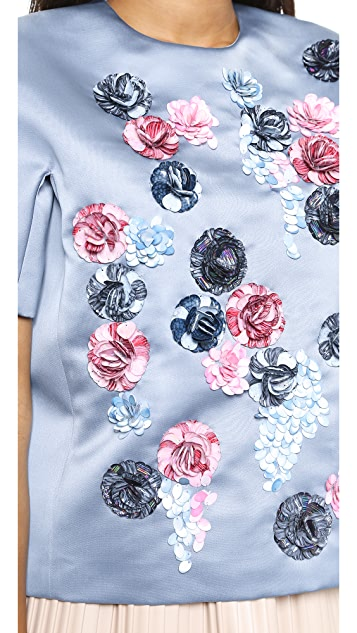 MSGM Satin Tee with Flower Applique