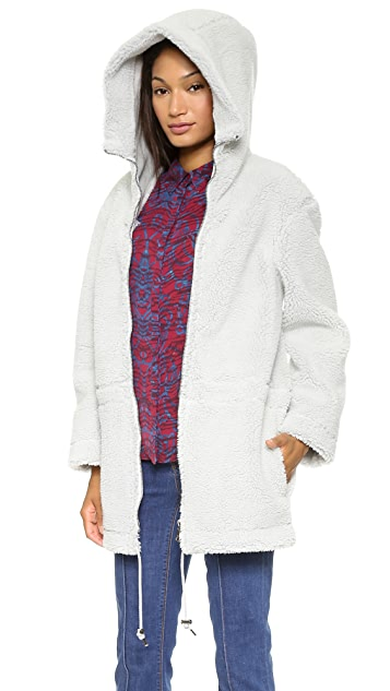 MSGM Hooded Faux Shearling Parka