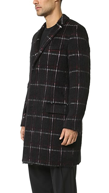 MSGM Fuzzy Plaid Overcoat
