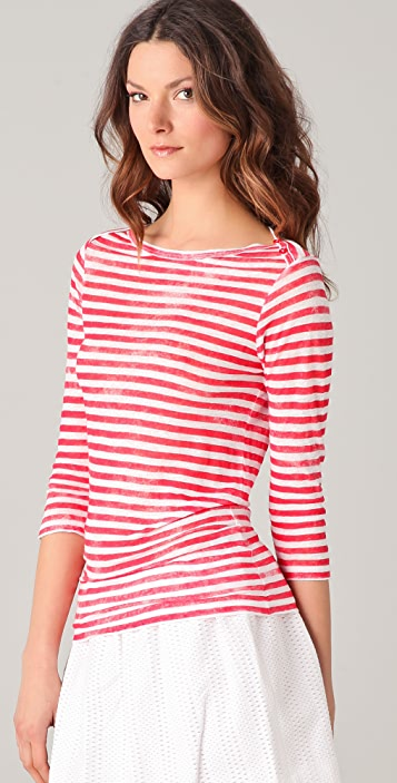 Majestic Striped Boat Neck Top