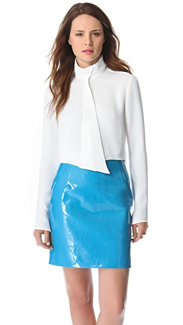 Mugler Cropped Button Blouse