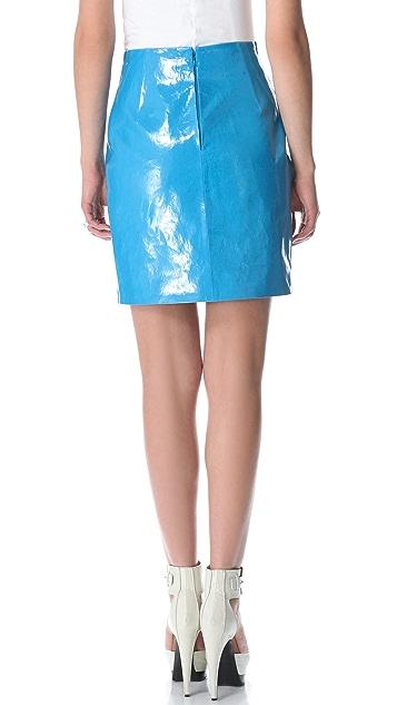Mugler High Waist Patent Miniskirt