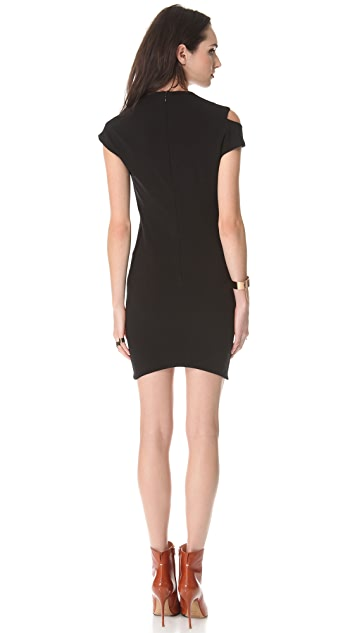 Mugler Stretch Dress with Short Sleeves