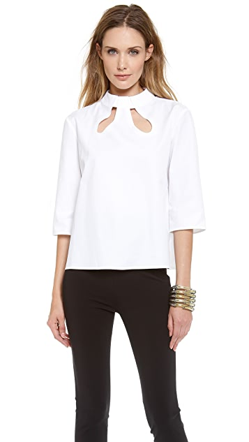 Mugler Poplin Cutout Top
