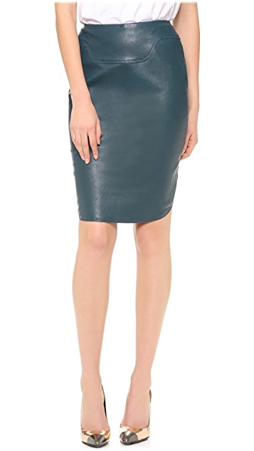 Mugler Stretch Leather Pencil Skirt