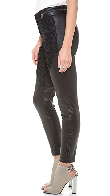 Marchesa Voyage Leather & Lace Combo Pants