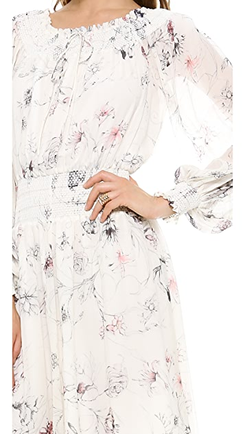 Marchesa Voyage Smocked Off Shoulder Dress