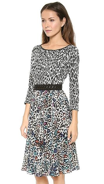 Marchesa Voyage Lace Up Leopard Dress