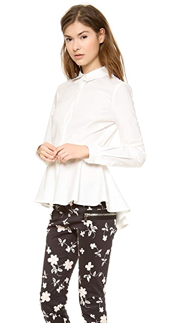 Marchesa Voyage Structured Peplum Top