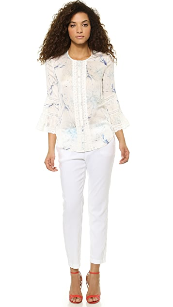 Marchesa Voyage Day Lily Peasant Top