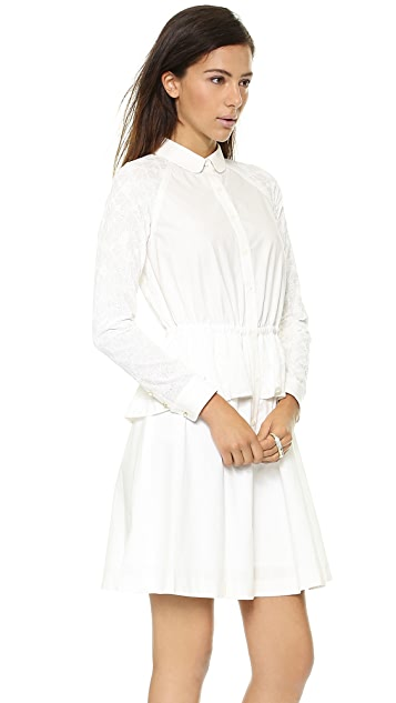 Marchesa Voyage Poplin Peplum Dress