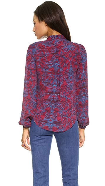 Marchesa Voyage Gathered Shoulder Blouse