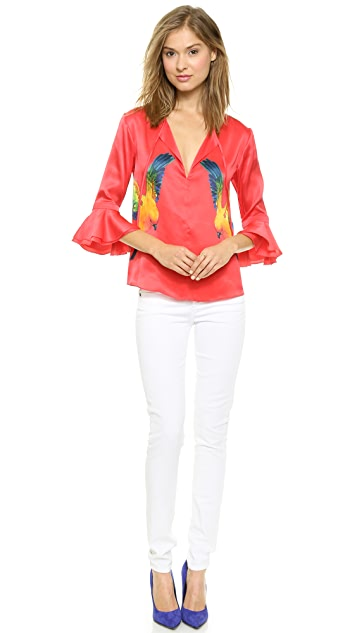 bcca77985b92c0 Marchesa Voyage Parrot Print Lace Raglan Top | SHOPBOP