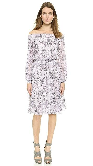 Marchesa Voyage Smocked Silk Peasant Dress