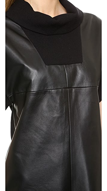Marissa Webb Lenora Leather & Wool Mini Dress