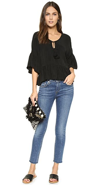 Maven West Kylie Ruffled Peasant Blouse