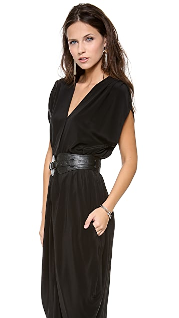 Myne Belted V Neck Dress
