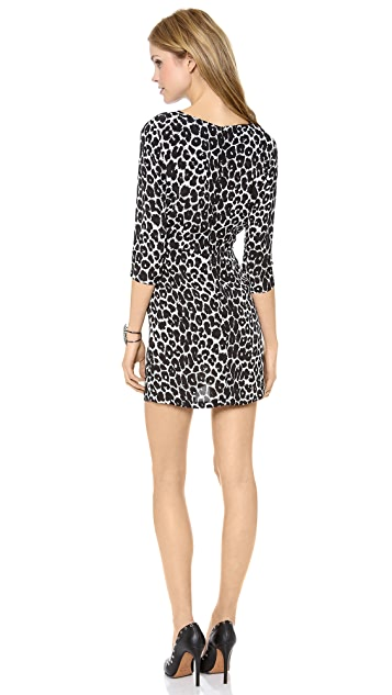 Myne Marko Long Sleeve Dress with Contrast Neck