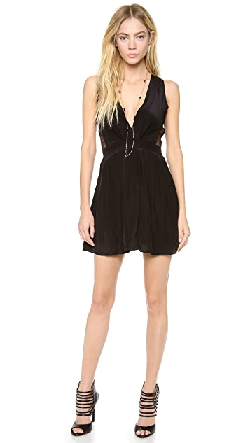 Myne Fern V Neck Dress with Sheer Cutouts