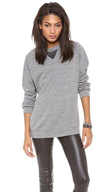 Myne Comfy Sweatshirt with Faux Leather Elbow Patches