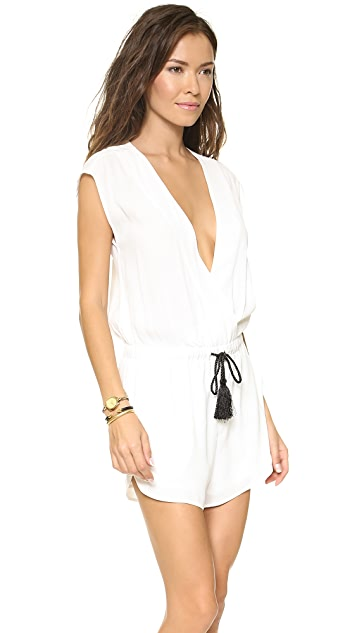 re:named Surplice Romper with Tassel