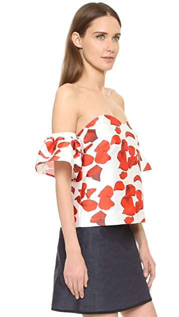 re:named Red Petals Off Shoulder Top