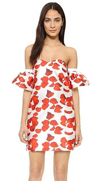 re:named Red Petals Off Shoulder Dress