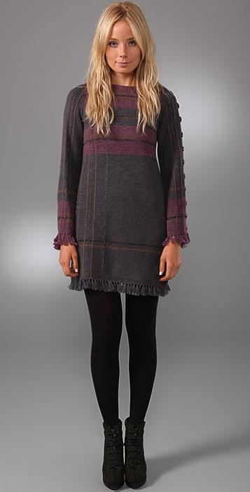 Nanette Lepore Tea n Tartan Plaid Sweater Dress