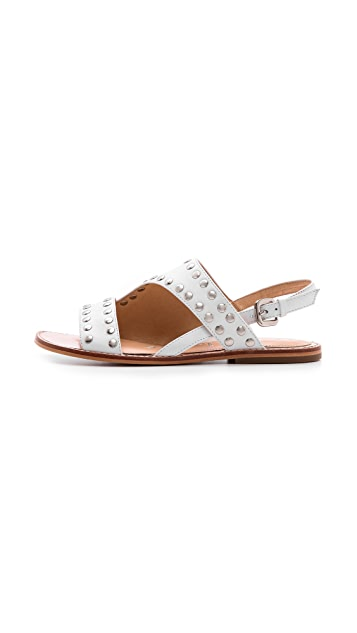 Nanette Lepore Double Time Studded Flat Sandals
