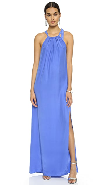 Natalie Deayala Gathered High Neck Gown