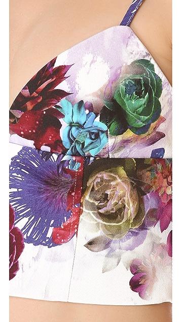 Nicholas Digi Floral Denim Crop Top